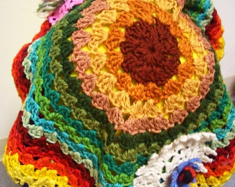 Upcycled Vintage Hippie Rainbow Crochet Hat