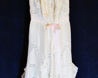 Antique combination corset cover and open drawers, c.1900 ivory silk and lace underwear with silk ribbons, OOAK
