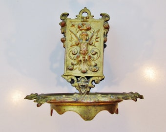 Antique matchbox holder with brass ashtray, 1800's Gothic style ashtray and match holder