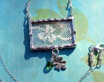 Lace Jewelry Soldered Pendants Necklace Shamrock Ivory Lace Sterling Silver Chain