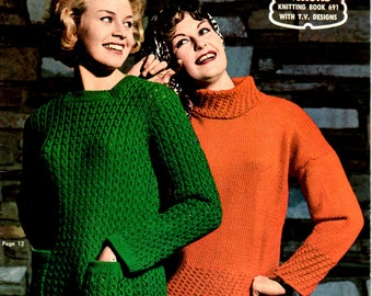 On Sale - Vintage 1960s - Paton's Knitting Pattern No 691  For Women Featuring Jet Tripleknit, Jumpers, Sweaters, Jackets.