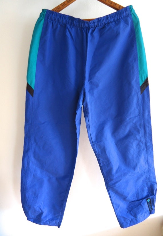 Vintage MEN Ski Pants XL by Sunbuster USA Blue Green Black Winter Snow Snowboarding Snow Pants Sports wear athletic