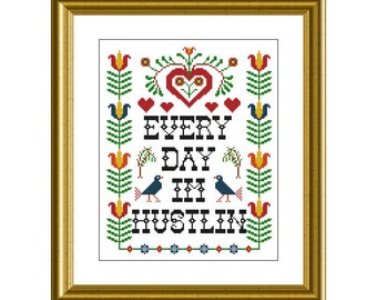 "PDF Counted Cross Stitch Pattern - Everyday I'm Hustlin - 1975 style 8"" x 10"" - Gangster Cross Stitch Crafty Decor Hip Hop DIY Kitsch Bitsch"