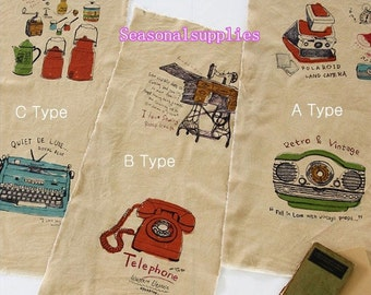 Cotton Linen Fabric for craft,Sewing, Telephone, Radio,Vintage Style Pattern,diy,fabric (C284)