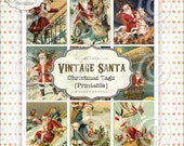 Vintage Santa Printable Christmas Tags PDF file to download instantly by Jodie Lee