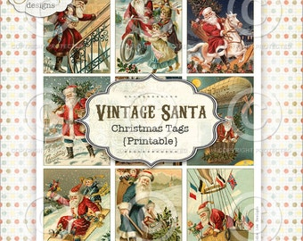 Vintage Santa Printable Christmas Tags PDF file to download instantly by Jodie Lee