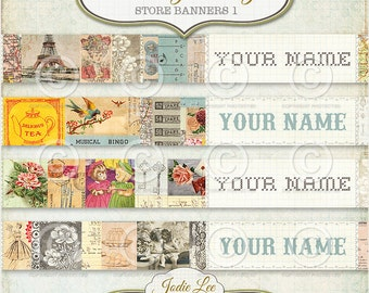 Vintage Etsy Banners Store Headers Set of JPG and PSD files to download instantly by Jodie Lee