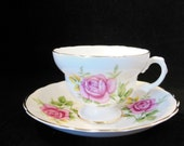 Tea Cup and Saucer Bone China Clare Pink Roses Made in England