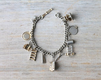 Vintage charm bracelet / motion charms / tools / rustic / retro / adorable / everyday work charms / cottage chic / mid century / kitsch