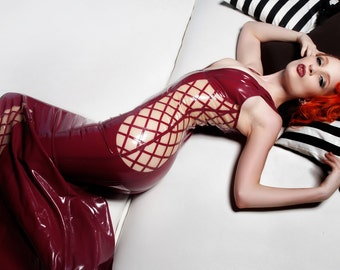 Crosshatched Latex Gown