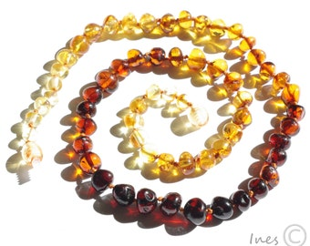 Baltic Amber Adult Necklace Rounded Rainbow Color Beads