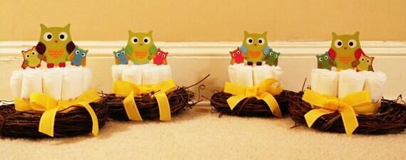 owl nest baby shower diaper centerpieces
