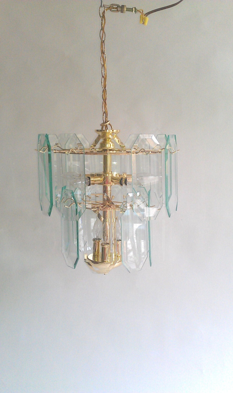 Vintage etched starburst glass and brass tiered chandelier - Starburst glassware ...