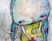 Mim's Valentine - ACEO Art Print - mixed media, aqua hair girl, quirky weird naive ATC