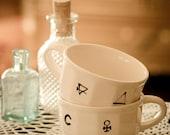 Alchemy Symbol Coffee/Tea Cups - Set of 2 (OOAK)