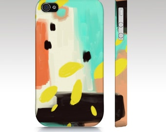 Modern art iPhone case, iphone 6, iphone 6s, iphone 5s, abstract art iphone case, painting, mint coral black, modern art, art for your phone