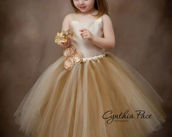 Flower Girl Tutu Dress Floor Length Sewn Tutu Dress Champagne Beige Gold with Satin Corset Satin Flower Hair Clip 6 months-10 CUSTOMIZABLE