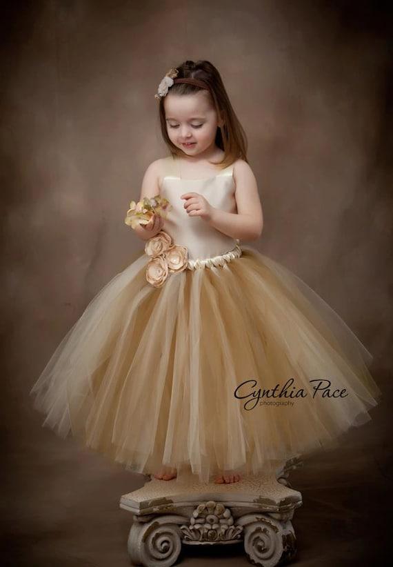 Flower Girl Tutu Dress Floor Length Sewn Tutu Dress Champagne