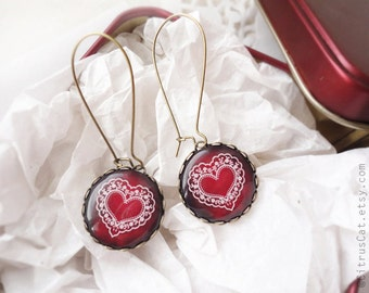 Ruby earrings, Red earrings - Valentine's Day jewelry. Heart earrings, romantic jewelry, heart jewelry, christmas jewelry, pomegranate