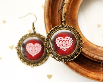 Heart-Shaped lace earrings