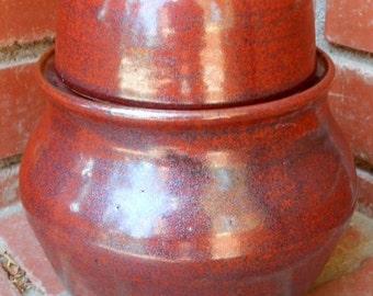 Brick Iron Red Lidded Pot Cookie Jar Apothecary Jar