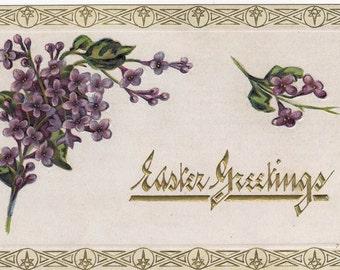 Ca. 1912 Easter Greetings Postcard - Violets - 851