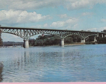 """Ca. 1950's """"Kennebec River Bridge and Dam"""" Topographical Real Photo Postcard  - 821"""