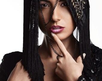 MADE TO ORDER Luscious Vampire Burning Man Black geisha fantasy Gaga costume headdress furry headpiece wig cosplay steampunk