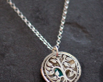 Custom Personalized Sterling Hand Stamped Our Family Tree Locket Brag Necklace for Mothers and Grandmothers