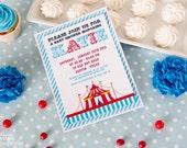 DIY PRINTABLE Invitation Card - Vintage Blue Circus Carnival Baby Shower Invitation - BS801CA1a1