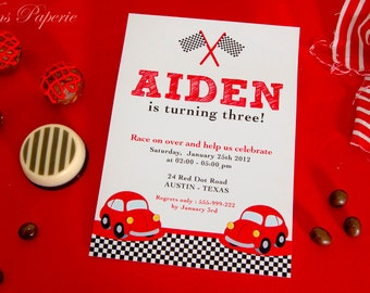 DIY PRINTABLE Invitation Card - Vintage Red Racing Car Birthday Party - PS807CA2a2