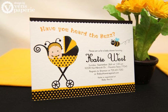 DIY PRINTABLE Invitation Card Bumble Bee Baby Shower