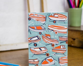 Boat Nostalgia greetings card by Jessica Hogarth. Coastal stationery featuring boat illustrations designed and printed in the UK.
