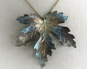 Maple leaf necklace -SEPTEMBER LEAF- rustic patina aged large leaf necklace with free gift boxing