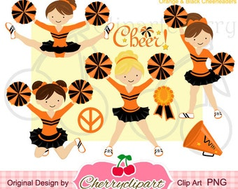 Orange and Black Cheerleader Digital Clipart Set for -Personal and Commercial Use-paper crafts,card making,scrapbooking,web design