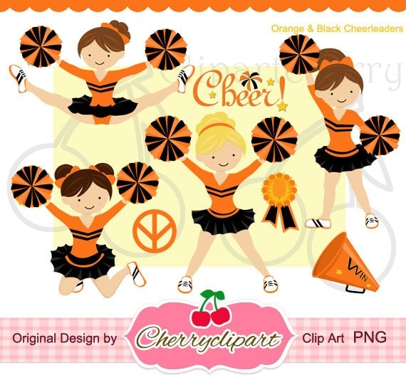 orange and black cheerleader digital clipart set for personal