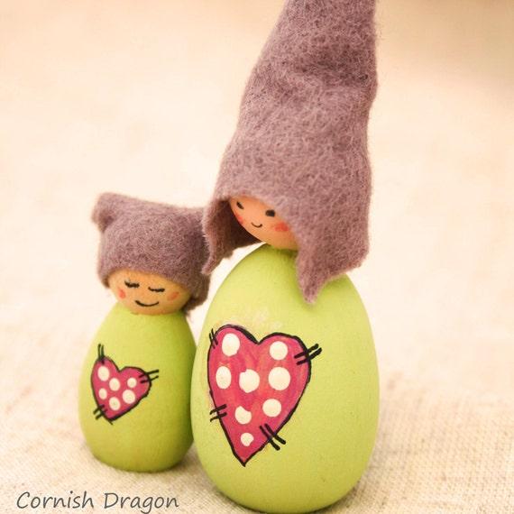 Sale - Green Patchwork Heart Elves