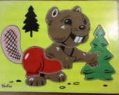 1960s Sifo Wooden Beaver with Pine Tree wooden Puzzle
