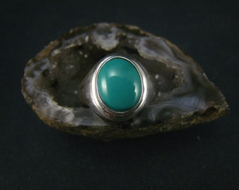 genuine turquoise fine silver ring