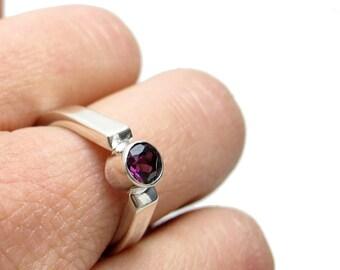 Simple Garnet Ring - Sterling Silver Garnet Ring - Red Gemstone Ring - January Birthstone Ring - Teardrop Shank - Unique Gemstone - Bezel
