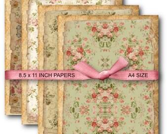 Digital Collage Sheet Download - A4 Vintage Floral Background -  691  - Digital Paper - Instant Download Printables