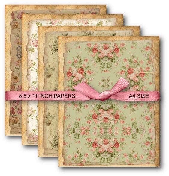 Digital Collage Sheet Download A4 Vintage Floral Background