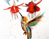 Humming Bird Visiting Flower, Original Watercolor Painting