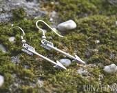 RUN WILD  arrow charm dangle mini earrings in silver