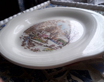 Shabby Chic Farm in Winter Transferware  Platter Currier and Ives Edwin M Knowles Semi Vitreous Plate