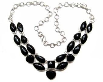 Beautiful Handmade Necklace studded Cabochon Gemstones , Black Onyx gem stone jewelry , Silver Plated Chokker Necklace