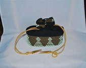 Beaded and Knit Pouch Handbag in Black, Gold and Pale Blue
