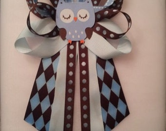 Brown and blue OWL baby shower pin/corsage