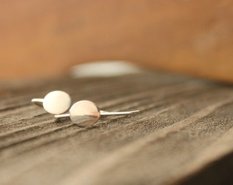 "Minimal Silver Earrings Oval Sterling Delicate Dainty Earrings bright/shiny modern petite-- ""Petal"""