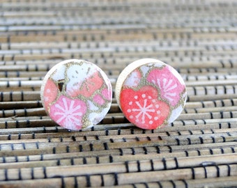 Coral Ear Studs, Coral EArrings, Japanese Chiyogami Paper, Wood Earrings, Gift under 10, Cherry Blossoms, Sakura